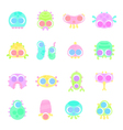 set of simple minimal flat monster characters vector image vector image