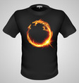 t shirts Black Fire Print man 29 vector image vector image