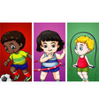 three children doing different sports vector image vector image