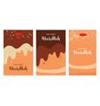 three greeting cards for jewish holiday hanukkah vector image