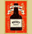 typographic retro grunge whiskey party poster vector image vector image