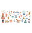 vintage christmas toys and gifts set flat vector image vector image