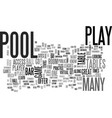 where to play text word cloud concept vector image vector image