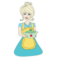housewife serving soup vector image