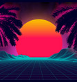 3d sunset on beach retro palms sci fi vector image vector image