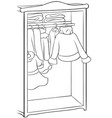 a children coloring bookpage a cute wardrobe with vector image vector image