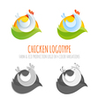 A collection of farm chicken icons vector image vector image