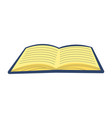 a flat open book design with cartoon style vector image