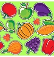 Autumn pattern with vegetables and fruits vector image vector image