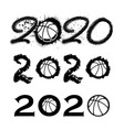 basketball 2020 new year numbers vector image vector image