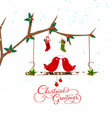 birds couple on the holly berry branch holiday vector image vector image