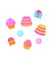 birthday cake cupcake gift sweet food dessert vector image vector image