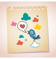 blue bird love message note paper cartoon sketch vector image vector image