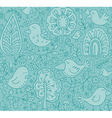 Blue floral seamless pattern with trees and birds