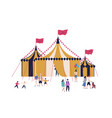 cartoon families and kids walking near circus tent vector image