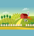 cartoon farm landscape field with farmers vector image vector image