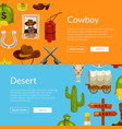 cartoon wild west elements web banner vector image vector image