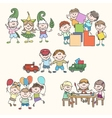 children in kinder garden hand drawn vector image vector image