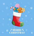 christmas sock with candies gifts vector image