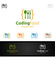 coding food logo for restaurant or cafe vector image vector image