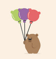 cute bear holding balloon cartoon vector image