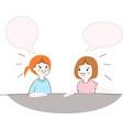 cute friend girls talking vector image vector image