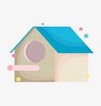 cute wooden house bird cartoon animal pets vector image vector image