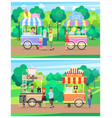 delicious street food from carts at green park vector image vector image