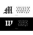 elegant blackletter gothic alphabet font vector image