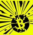 exploding bitcoin on bright vector image