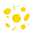 falling bitcoins isolated on vector image vector image