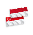 flags indonesia and singapore on a white vector image