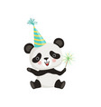 funny little panda sitting on floor and holding vector image vector image