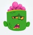 funny zombie head cartoon character vector image