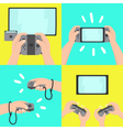 Gaming system Four different types of use vector image vector image
