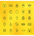 Happy Easter Line Icons Set over Polygonal vector image vector image