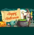 happy halloween spooky night and wizard vector image