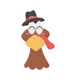 happy thanksgiving day turkey head with pilgrim vector image