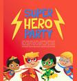 joyous multiracial kids in super hero outfit vector image vector image