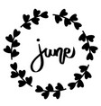 june hand drawn typography frame black text vector image vector image