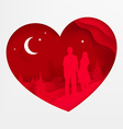 Lovers in a Love Heart vector image vector image
