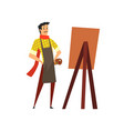 male artist character in apron drawing on an easel vector image vector image