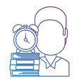 man with text books and alarm clock vector image vector image