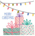 merry christmas celebration decoration gits with vector image