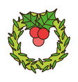 merry christmas wreath and holly berry decoration vector image
