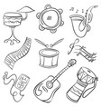 musical instrument doodle style collection vector image vector image