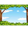 Nature scene with tree and sky vector image vector image