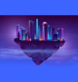 night neon megapolis on soaring island vector image vector image