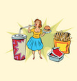 pop art woman and fast food vector image vector image
