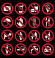 prohibition signs vector image vector image